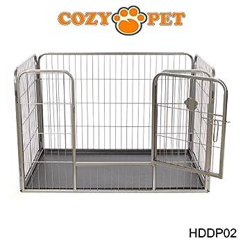 Cozy Pet Parc pour chiot robuste - 3 tailles différentes - pour Chiens Chiots Animaux de compagnie - bas avec sol en plastique - en Argent-Gris Taille Moyen
