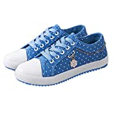 Haiyinqux Canvas Shoes Woman 2018 New Breathable Plus Size Ladies Shoes Tenis Feminino Polka Dot Female Sneakers Women Shoes Light Blue 6.5