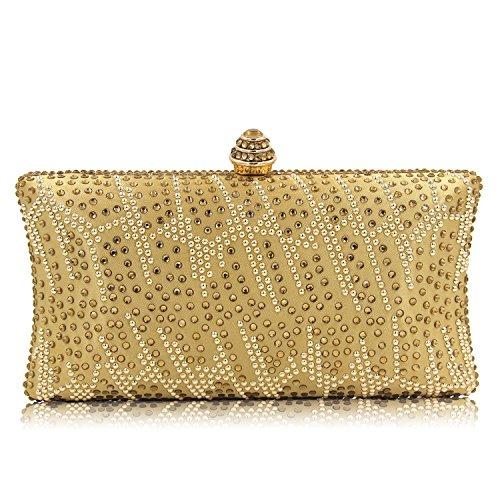 14355b2405baf Flada Frauen und Damen Handtasche Abend Clutch Bag Strass Schultertaschen  für prom Hochzeit Party Rosy Gold