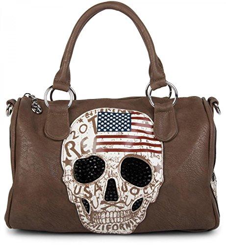 styleBREAKER Bowling Bag mit USA Design Totenkopf und schwarzem Strass, Handtasche, Damen 02012051, Farbe:Dunkelbraun (Tasche Bowling Leder Kleine)