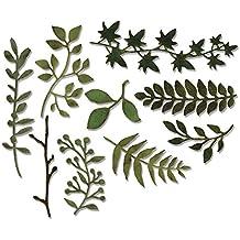 Sizzix Garden Greens by Tim Holtz Thinlits Dies - Fustelle in acciaio al carbonio, motivo: foglie, multicolore, confezione da 9 - Big Shot Taglio Pad