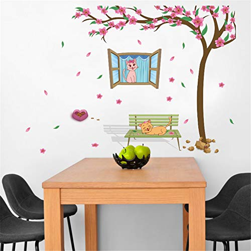 Peach Blossom Love Cat Xuan Guan Children'S Room Kindergarten Baby Bed Layout Decorative Wall Sticker Decoration 60 * 90Cm