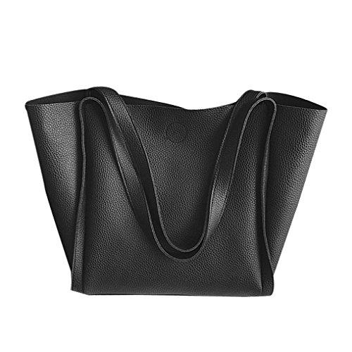 VENMO Frauen zwei Stück Schultertasche Griff Taschen Mode Kuriertaschen Handtaschenbeutel (Black) (Behandeln Leinwand)