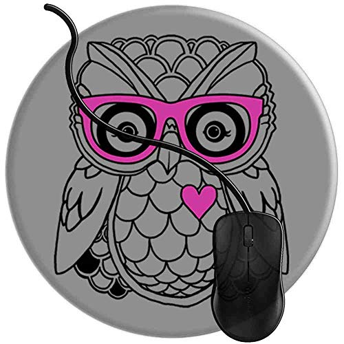 Mauspad Herz Eule mit rosa Nerd Brille Boho Art, Runde Gaming Mauspad Matte Reibungslos Weich Rutschfester Gummi Basis für PC Laptop 1U1724