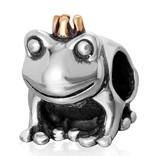 Soulbead gold plated crown frog prince charm genuine sterling silver bead for european brand bracelet compatible by soulbead