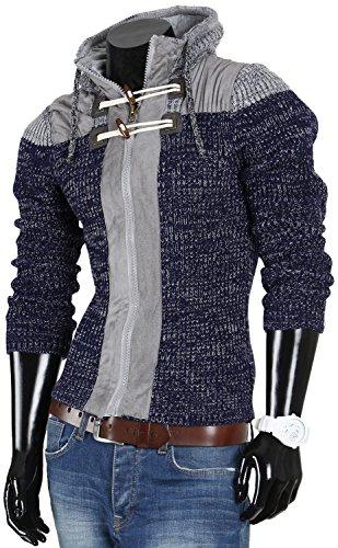 VAN HILL Herren Pullover Strickjacke Grobstrick Kapuzenpullover Zipper Rollkragenpullover Winter Größe S - XXL Navy Blau