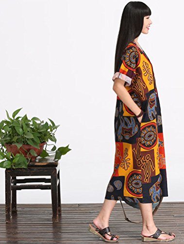 MatchLife Femme Floral Longues Robe Manches Courtes 2-Jaune