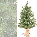Kleiner künstlicher Weihnachtsbaum grün Jutesack natur 60 cm hoch beleuchtet mit 35 Lichtern