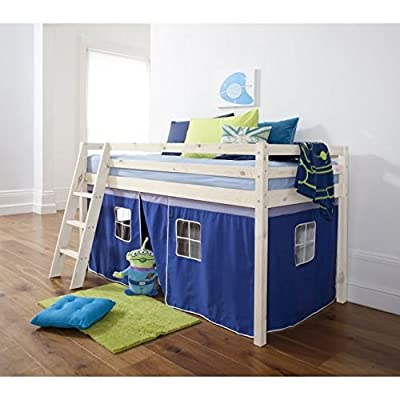 Cabin Bed Mid Sleeper Bunk with Tent Blue in Whitewash 5758WW-BLUE