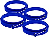 Premium Silicone Egg Cooker Ring / Pancake Rings. Blue Non Stick Round Cooking Mold by YumYum