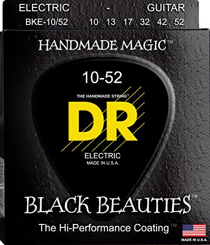 DR BKE 10/52 BLACK BEAUTIES COATED ELECTRIC GUITAR STRINGS 10 52