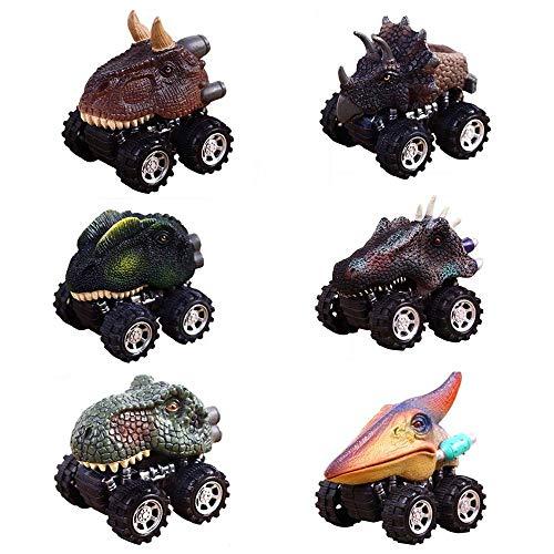 Weihnachtsgeschenke Spielzeug für 2-9 Jahre Alte Jungen, CYMY Zurückziehen Dinosaurier Autos für Jungen Geburtstagsgeschenk (6 Pack) (Jungen Spielzeug Alter 2)