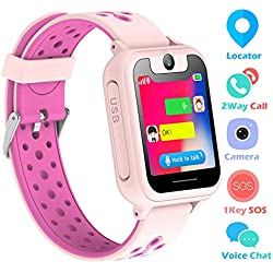 bhdlovely Reloj Niños Smartwatch LBS/GPS Pantalla Táctil Kids Safe Anti-pérdida SOS para Android e iOS Smartphone (Rosa)