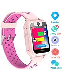 Kids Smart Watch Phone, LBS Tracker Smart Watch for Kids 3-12 Year Old Boys Girls SOS Camera Slot Touch Screen Game Outdoor Activities Toys Childrens Day Gift (Pink)
