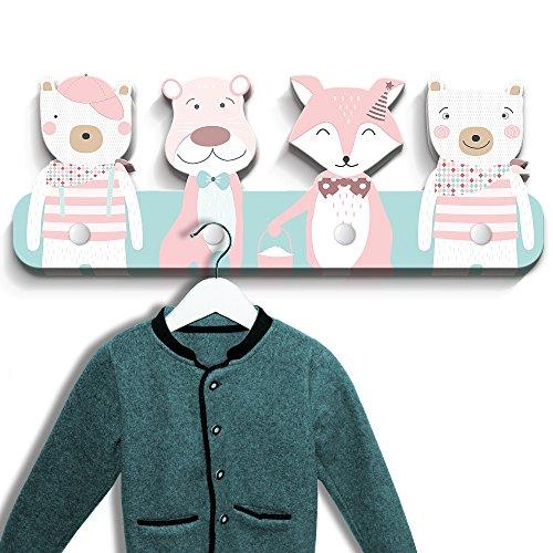 luvel - Kindergarderobe mit 4 Haken, Wandgarderobe, Kleiderhaken, Wandhaken, Kindermöbel, Garderobenhaken, Kinderzimmer, Maße ca.: 40 x 15 x 1 cm (Tierköpfe - rosa-mint)
