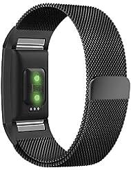 Fitbit Charge 2 Bracelet de remplacement, amBand Milanese Loop Stainless Steel Metal Bracelet Strap avec Unique Verrouillage de l'aimant pour Fitbit Charge 2 tracker d'activités, Noir