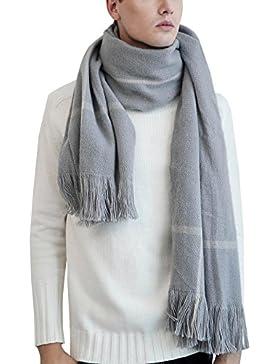 Aivtalk - Bufanda Chal con Fleco para Mujer Hombre Casual Foulard Invierno - Gris - 60x200cm