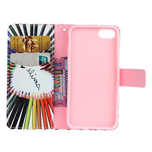 PU Coque Apple iPhone 7 (4.7 pouces), Multifonction Case Wallet Cover Etui en cuir Étui de protection flip Wallet stand Cover avec des fentes de cartes pour ( Apple iPhone 7 (4.7 pouces) ) +Bouchons d 5