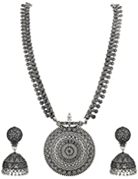 Sasitrends German Oxidized Long Necklace Earring Set For Girls And Women
