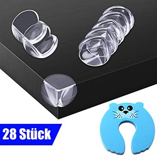 OUSI 28 teiliges Gummi Eckenschutz und Kantenschutz für Kindersicherung Tisch, Möbelecke und Stoßfänger, 1 teiliges Fingerklemmschutz Türstopper für Baby's und Kinder