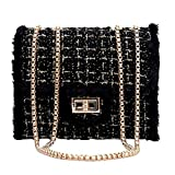 HCFKJ Tasche, Weiblicher Kette Square Bag Casual Samt Umhängetasche Lock Diagonal Cross Bag (BK)