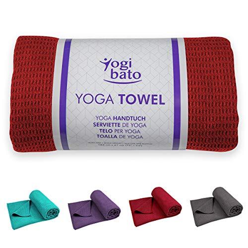Yogibato Yoga Handtuch rutschfest & schnelltrocknend – Yogahandtuch Antirutsch – Mikrofaser Yogatuch – Non Slip Yoga Towel [183 x 61 cm]