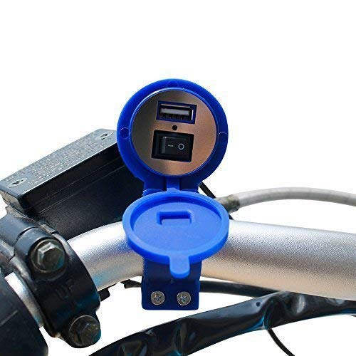 Mobias Retails BOKA Waterproof Power Outlet 2.1A and 2.1A USB Charger Socket with Voltmeter and Wire in-line 10A Fuse for 12-24V Car Boat Marine Motorcycle