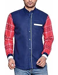 PP Shirts Men Blue Coloured Casual Shirt