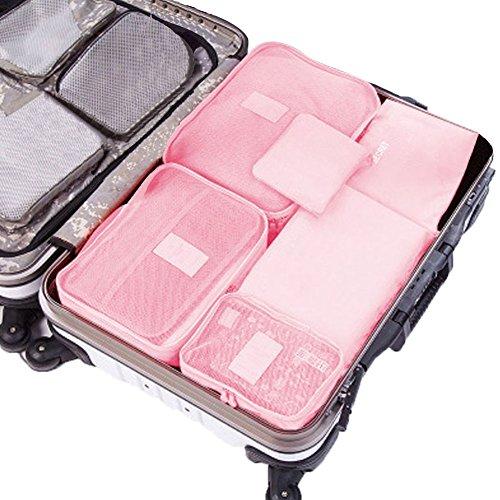 sztara Travel Organisatoren Essential bags-in-bag Aufbewahrung wasserdicht Nylon Kordelzug Dry Bag Kleidung Koffer Gepäck Aufbewahrungsbeutel Set von 6Big Platz, rose (Pink) - Mtarashop-mp1129F