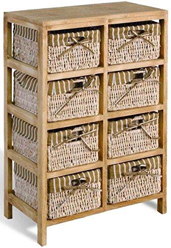 8 Holzregal mit 8 Maisstrohkörben mit braun/beige gestreiftem Stoff Abm. B 52 T 30 H 81 cm