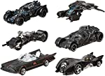 Hot Wheels Batman Set of 6 Classic TV Batomobile,Batmobile,Batman Begins Batmobile,Bat-Pod,The Bat & Batman Arkham Knight Batmobile 1/64th Scale 2015