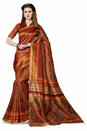 Binny Creation Women's Poly Cotton Saree With Blouse Piece (Bcs-35,Brown,Free Size)