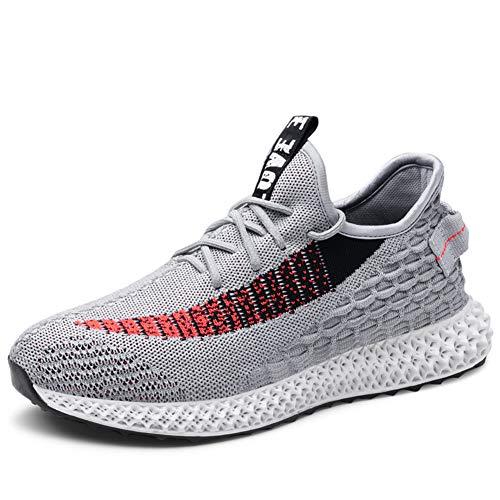 Straßenlaufschuhe Herren Damen Laufschuhe Fitness Turnschuhe Sneakers Air Sportschuhe Running Shoes(2 Grau, 41EU)