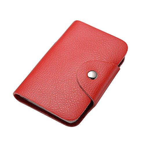 Weiches Leder Kreditkarte Halter Wallet Pocket ID Business Card Case Geldbörse Rot Rot
