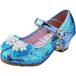 Tyidalin Ballerine Chaussures à talon à Déguisement Princesse Nœud Papillon Paillettes pour Enfant Fille - Bleu - EU 28 (Asie 29)