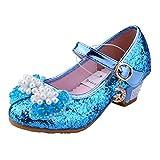 Tyidalin Prinzessin Schuhe mit Absatz Mädchen Kostüm Ballerina Schuhe - Schleife und Pailletten Karneval Festlich für Kinder- Gr. 30EU (Etikett 31), Blau