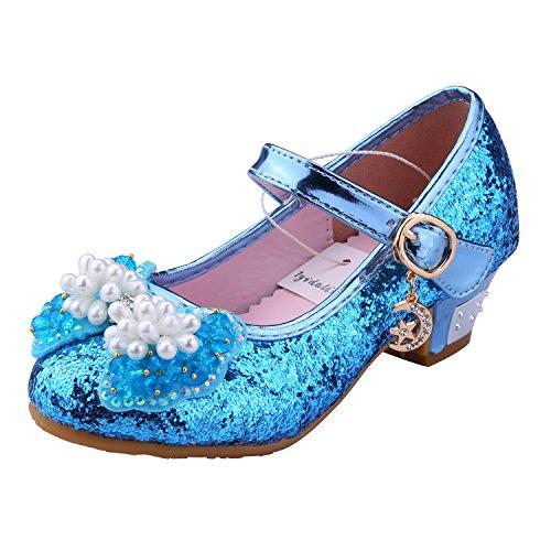 Tyidalin Prinzessin Schuhe mit Absatz Mädchen Kostüm Ballerina Schuhe - Schleife und Pailletten Karneval Festlich für Kinder Blau (Pailletten Blaue Kostüme Prinzessin)