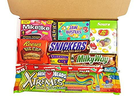 American Candy Box Hamper | Retro Sweets and Chocolate Bar Gift Box Selection | Assortment includes Reeses Cup, Airheads, Charleston Chew, Jelly Belly Sours | 10 items in Retro Sweets Taster Box