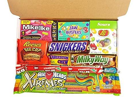 Mini coffret cadeau bonbons américains | Sélection de bonbons chocolats vintage | Assortiment inclut Reeses, Airheads, Charleston Chew, Jelly Belly Sours | Coffret cadeau vintage de 10 pièces