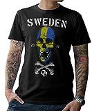 NG articlezz T-Shirt Herren Sweden Skull Fußball WM 2018 Schweden S-5XL