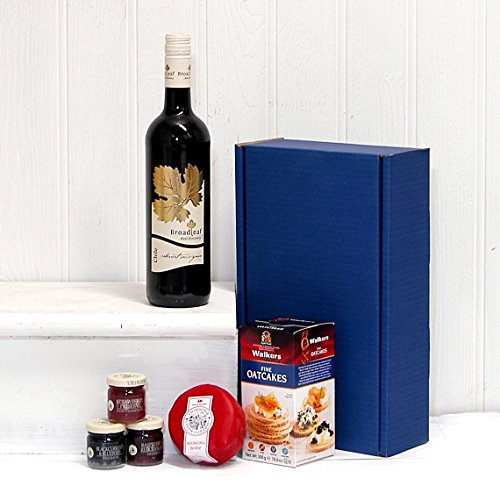 Luxury Red Wine & Cheese Hamper Presented in a Blue Gift Box - Gift ideas for Birthday, Anniversary and Corporate