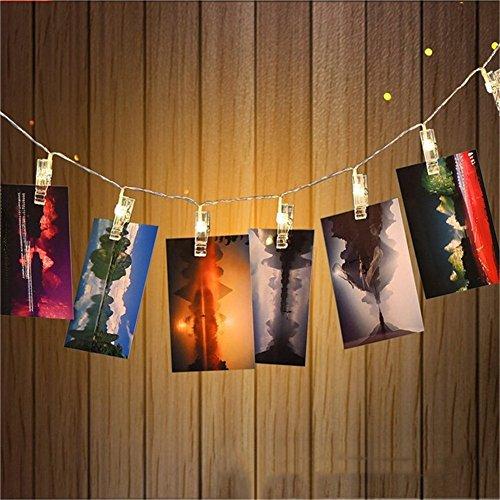 Zuoao LED Foto Clip Lichterkette Batteriebetriebene , 30 Foto-Clips, 3 M Warmweiß Partybeleuchtung Kreative Lampe Clip Foto-Wanddekoration für Festival, Weihnachten, Hochzeit Dekoration (warmweiß)