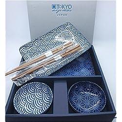 Tokyo Design Studio, Sushi Set, 6-teilig, Japan, blau/weiss