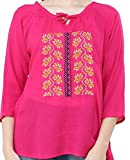 #7: Triumphin Pink Women Short Top Kurti For Jeans Embroidered Cotton Top For Daily wear Stylish Casual and Western Wear Women / Girls Top