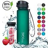 720°DGREE Trinkflasche 'uberBottle' - 1 Liter, 1000ml, Grün, Gruen | Neuartige Tritan Wasser-Flasche | Water Bottle BPA Frei | Ideale Sportflasche für Kinder, Fitness, Fahrrad, Sport, Fussball
