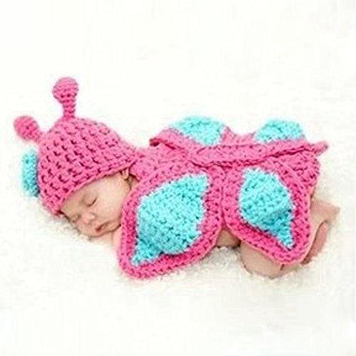 Kostüm Crochet Schmetterling - DAYAN Baby Pink Schmetterling Crochet Knitting Kostüm Weiche Kleider Foto Fotografie Props für 0-9 Monate Neugeborene