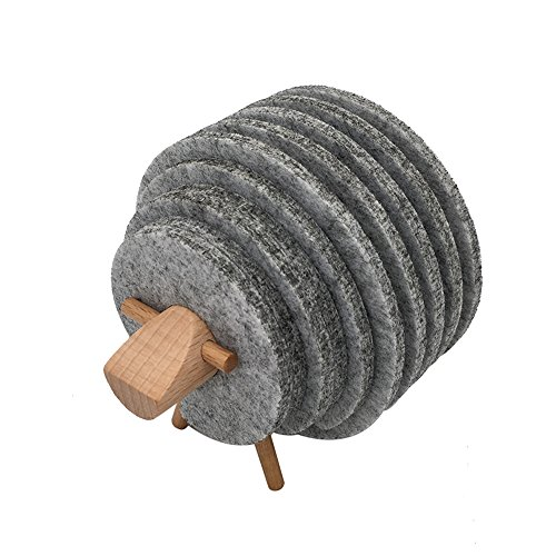 Handgefertigt Schaf Form Holz Filz Untersetzer isolierend Runde Cup Mat, grau, 9cm x5 ,8cmx5,7cm x2,6cmx2