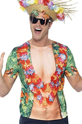 Smiffys 45541L - Herren Hawaii T-Shirt, Größe: L, mehrfarbig