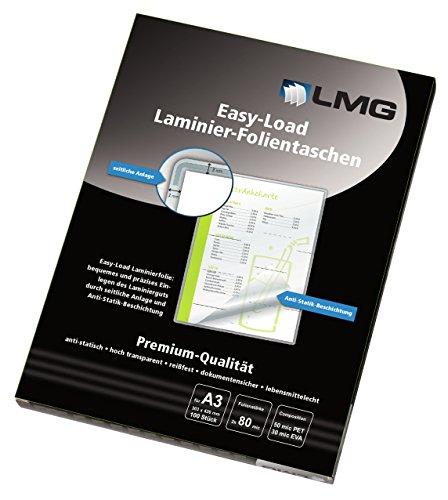 Preisvergleich Produktbild LMG LMGE-A3-80 Laminierfolien Easy Entry A4, 216 x 303 mm, 2 x 80 mic, 100 Stück