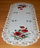 Espamira Tischdecke Tischläufer Creme Stickerei MOHN Tischdekoration Mitteldecke Sommer Herbst (Tischläufer 45x130 cm) - 2